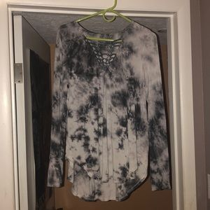 Grey and White Tye Dye Long Sleeve